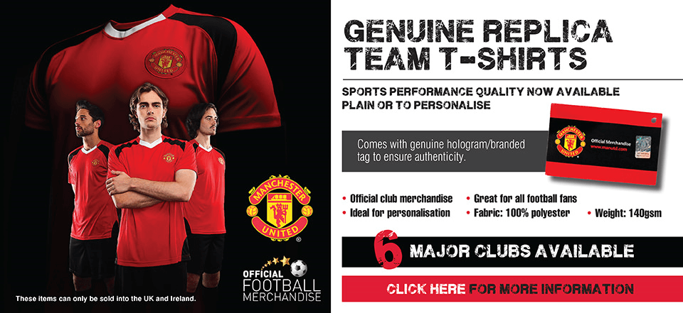 Football club t-shirts ready to personalise
