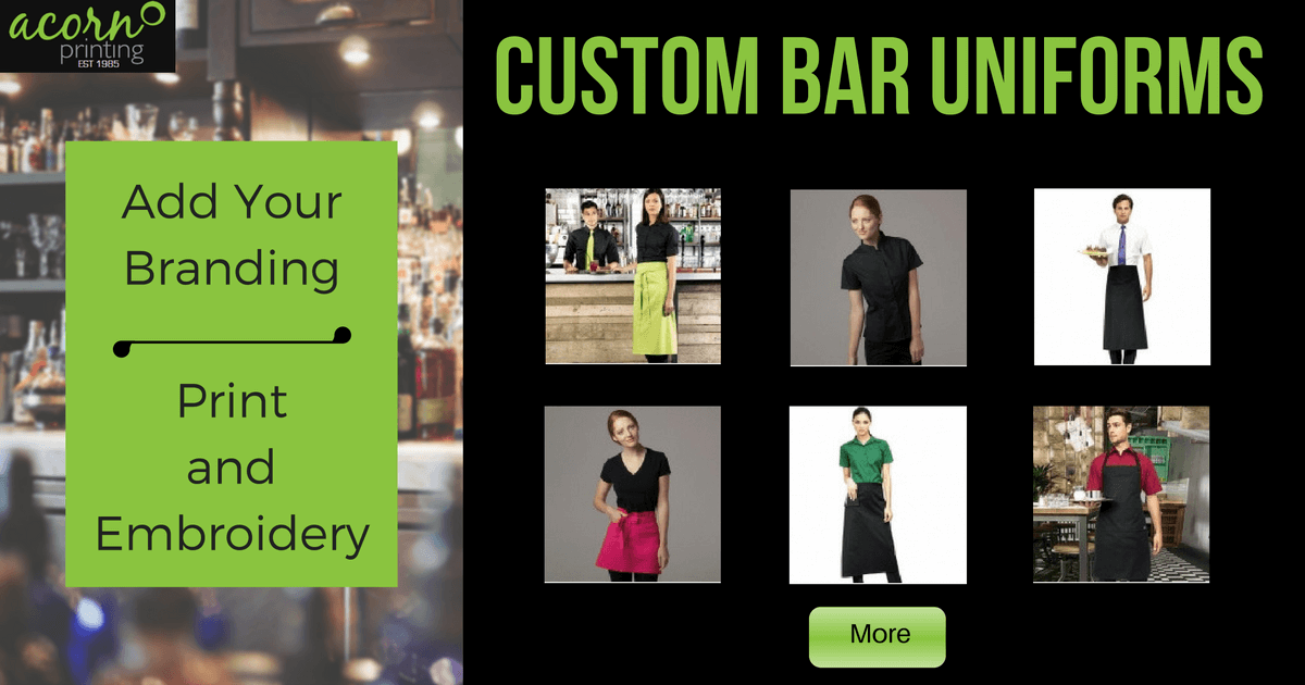 Bar Staff Uniforms customised with printing and embroidery