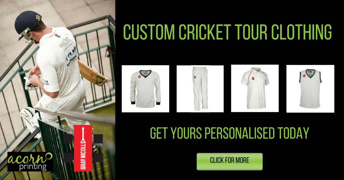 Get customised cricket gear for your club. Personalised by Acorn Printing