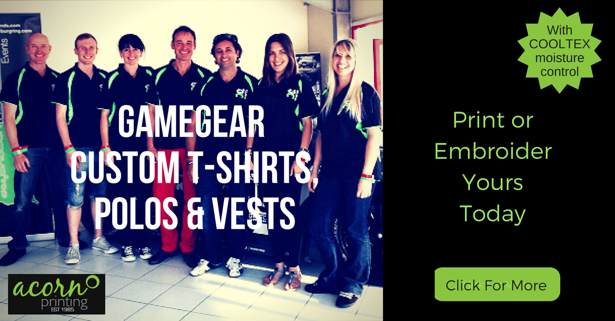 Acorn supplies Gamegear t-shirts, polo shirts, vests and teamwear. Ready to customise with print and embroidery.