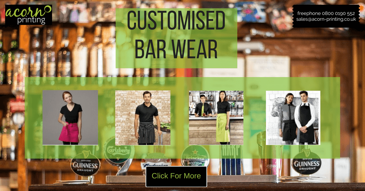 Custom printed and embroidered bar and hospitality wear from Acorn Printing. Single or bulk orders