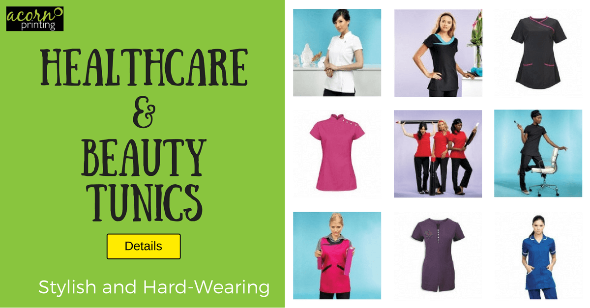 Personalised healthcare and beauty tunics. Printed or embroidered today
