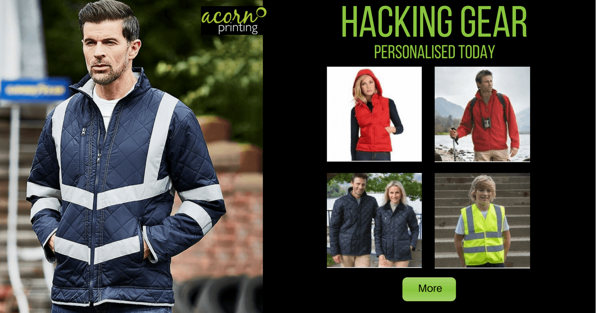 Personalised horse riding and hacking gear. Printing and embroidery
