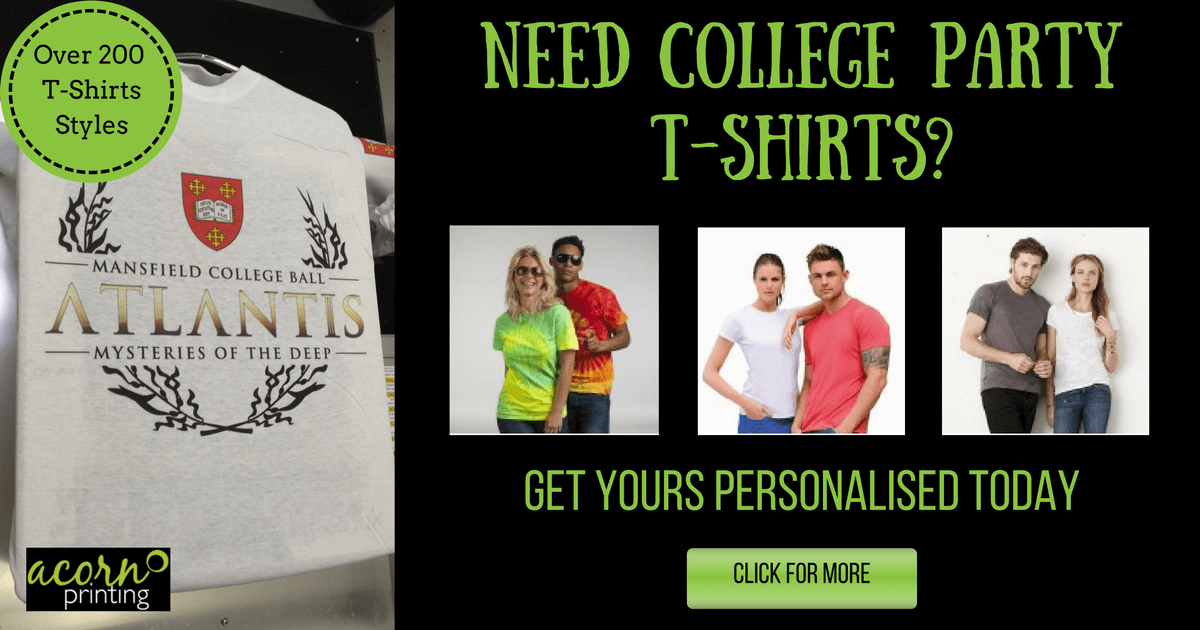 personalised t-shirts for your college or uni party. Print or embroider