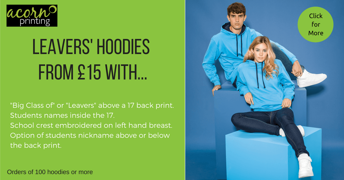 personalised school leaver hoodies 2017. print and embroidery