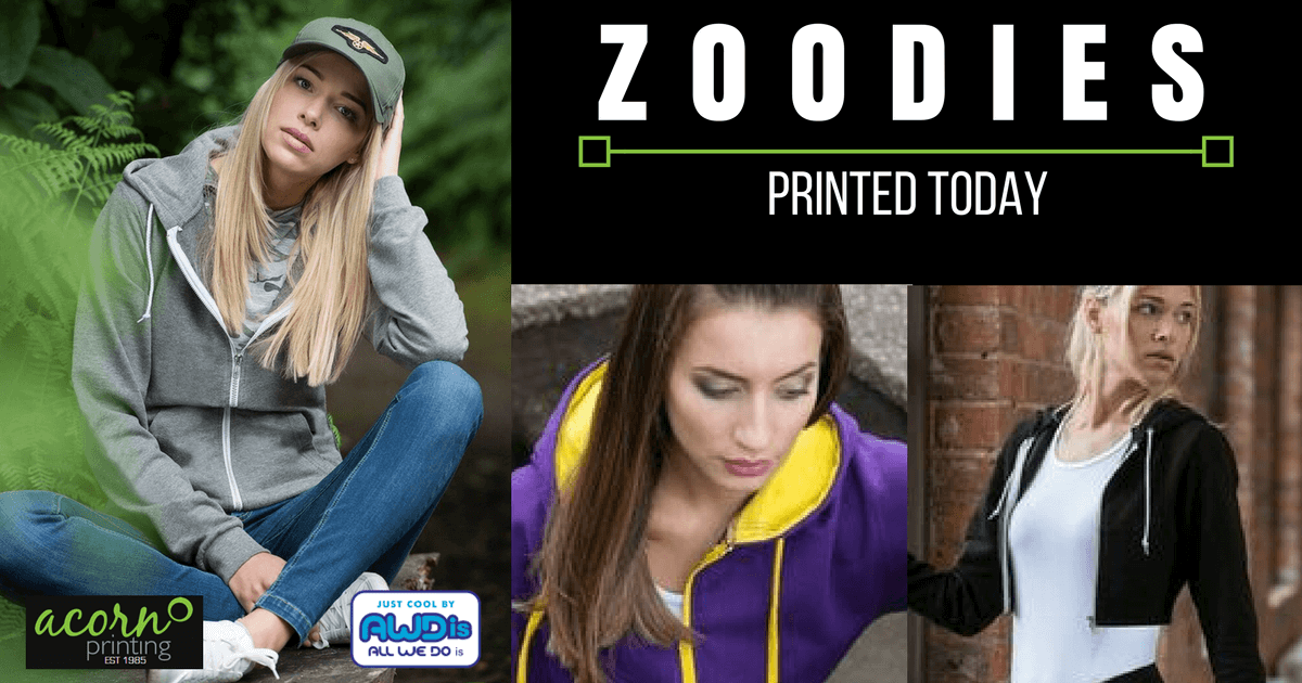 Great Zoodie selction. Ready to personalise with print or embroidery