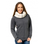 Sherpa Fleece Turtle Neck Zip Hoodie - Peach Finish