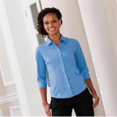 Women's A¾ sleeve polycotton easycare fitted poplin