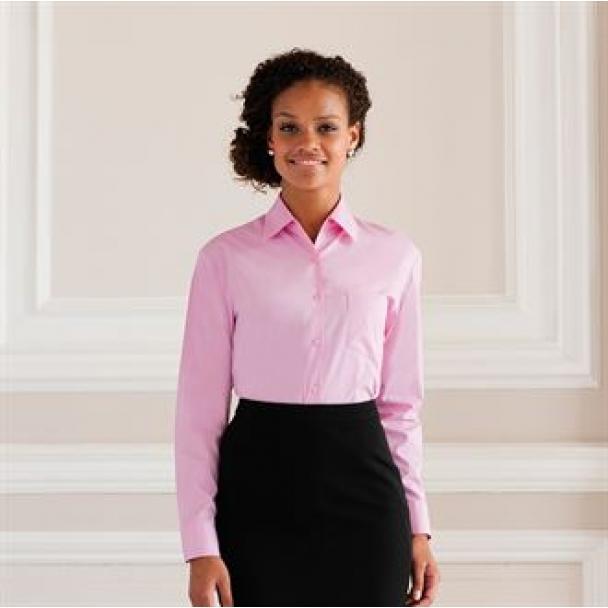Women's long sleeve pure cotton easycare poplin shirt