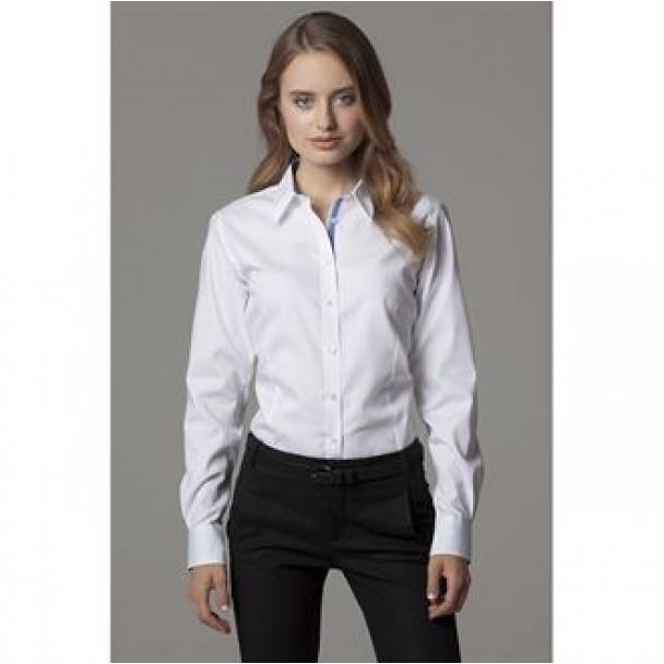 Women's contrast premium Oxford shirt long sleeved