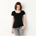Baby rib short sleeve scoop neck t-shirt