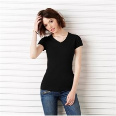 Baby rib short sleeve v-neck t-shirt