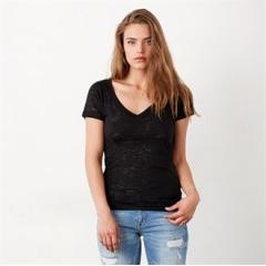 Burn-out v-neck t-shirt