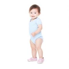 Short sleeve baby rib one-piece
