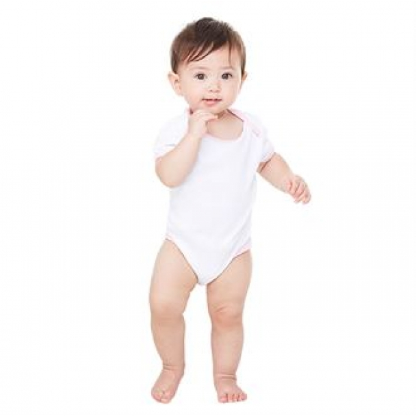 Short sleeve baby rib ringer one-piece