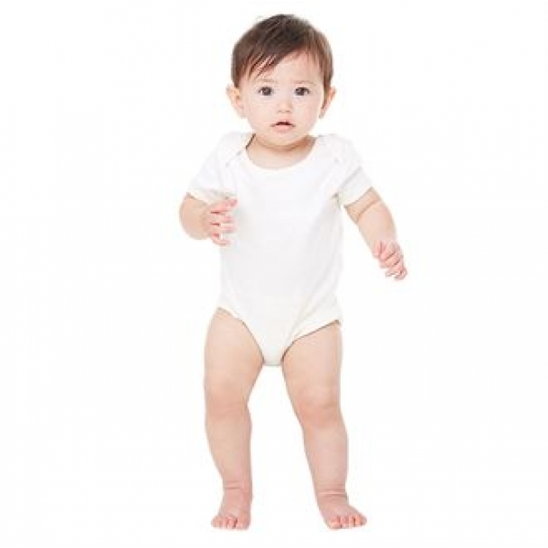 Organic short-sleeve baby rib one-piece