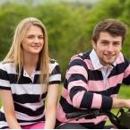 Women's striped pique polo