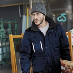 Workwear parka with detachable sleeves