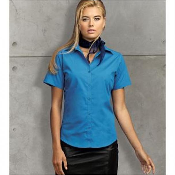 Women's short sleeve poplin blouse