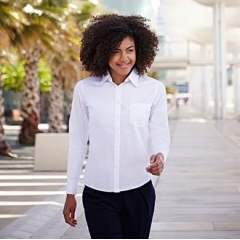 Lady-fit poplin long sleeve shirt