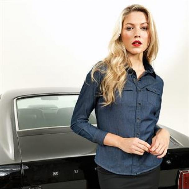 Women's jeans stitch denim shirt