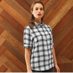 Womens Ginmill check cotton long sleeve shirt