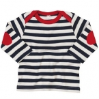Baby stripy long sleeve T (with elbow patches)