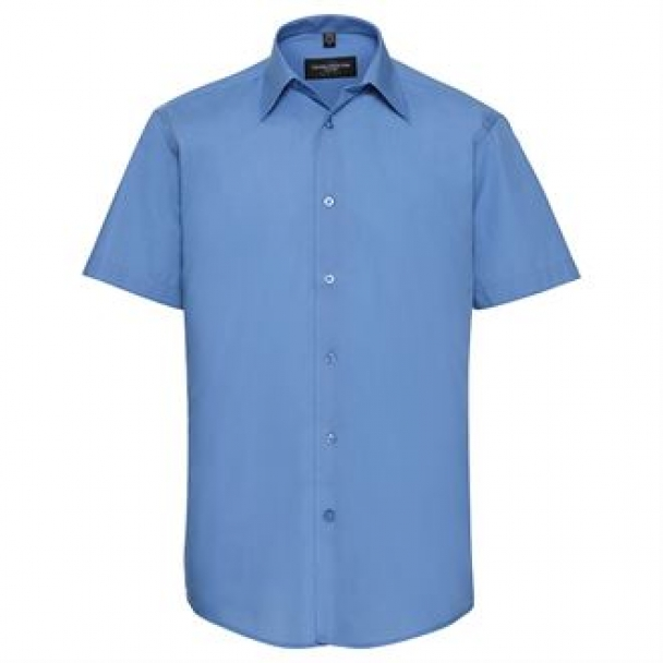 Short sleeve polycotton easycare tailored poplin shirt