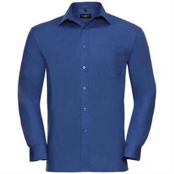 Long sleeve pure cotton easycare poplin shirt