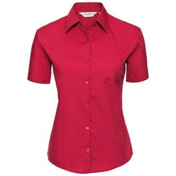 Women's short sleeve pure cotton easycare poplin shirt