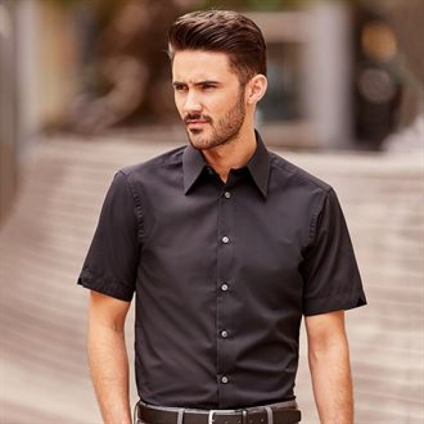 Short sleeve Tencel® fitted shirt
