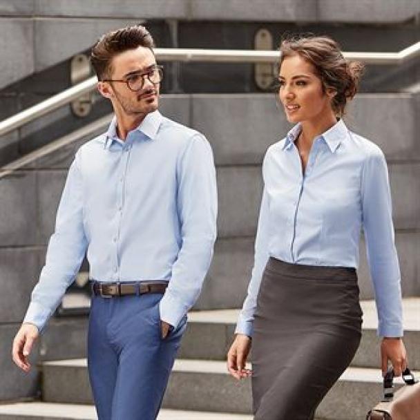 Women's long sleeve herringbone shirt