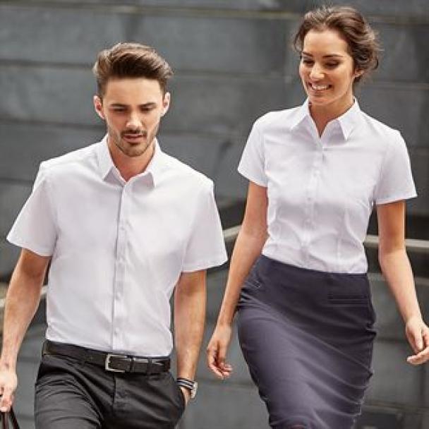 Short sleeve herringbone shirt