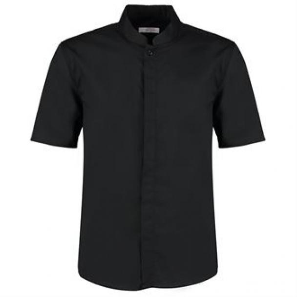 Bar shirt mandarin collar short sleeve