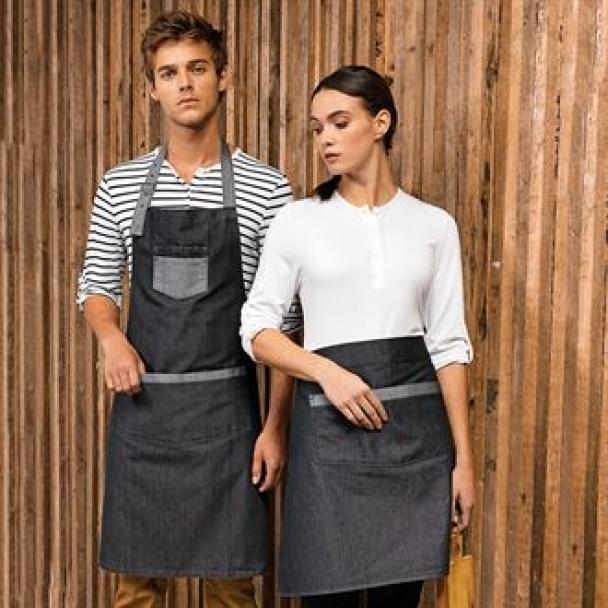 Domain contrast denim waist apron
