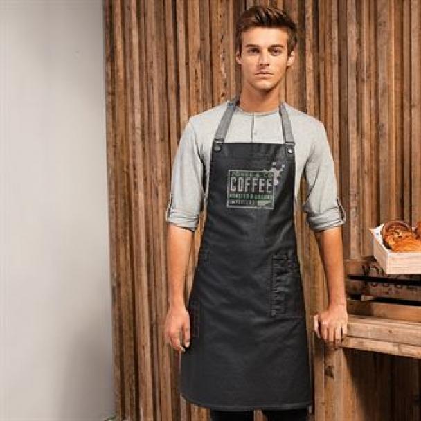 District waxed-look denim bib apron
