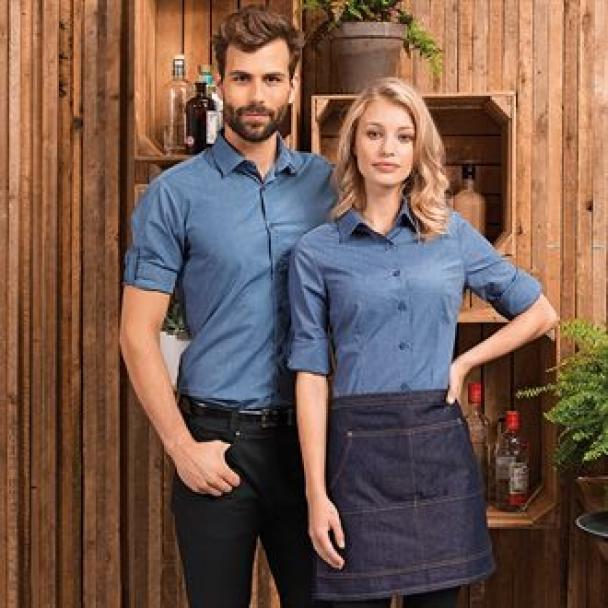 Poplin cross-dye roll sleeve shirt
