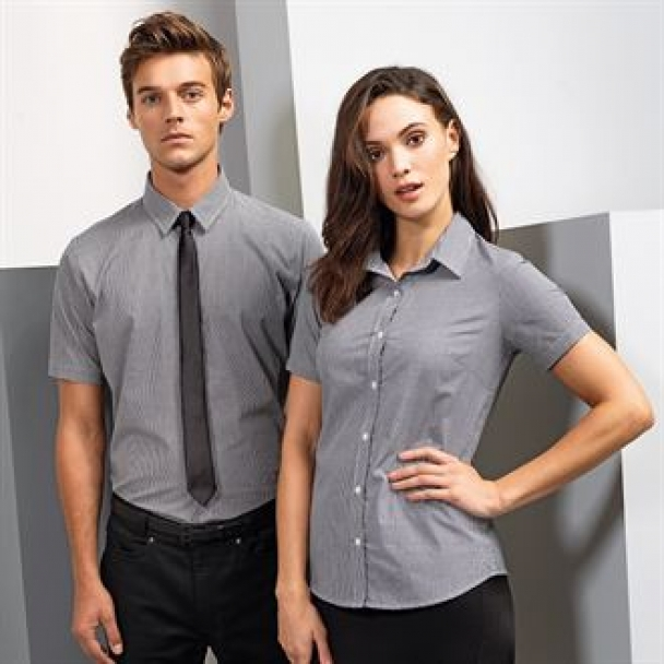 Microcheck (Gingham) cotton short sleeve shirt