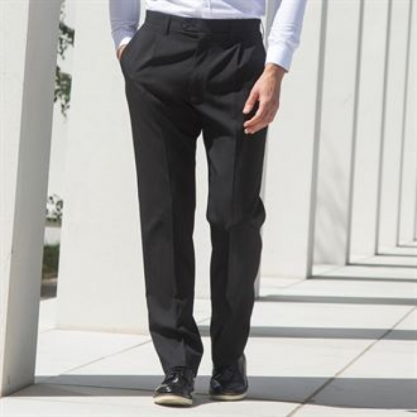 Polyester single pleat trousers