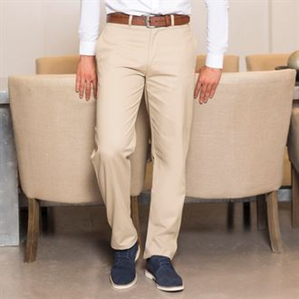 Teflon®-coated flat front chino