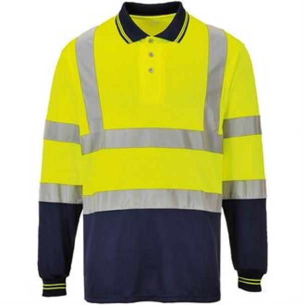 Hi-vis two-tone long sleeve polo shirt (S279)