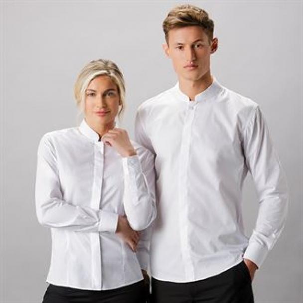 Mandarin collar fitted shirt long sleeve