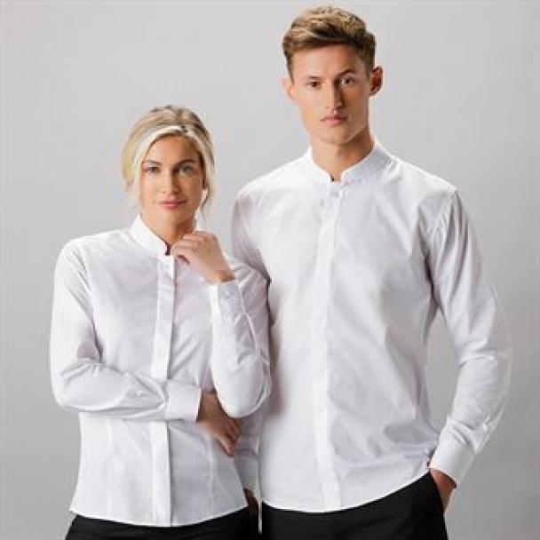 Women's mandarin collar fitted shirt long sleeve