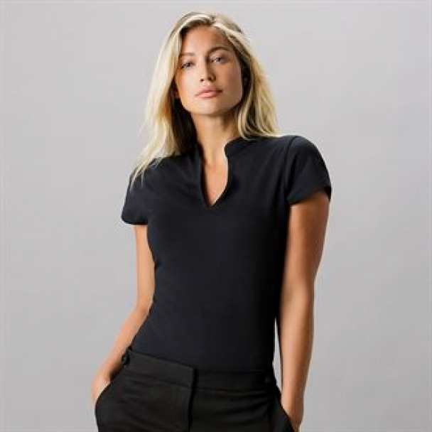 Women's corporate short sleeve top v-neck mandarin collar