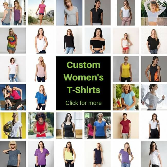 women's t-shirt customised with printing or embroidery