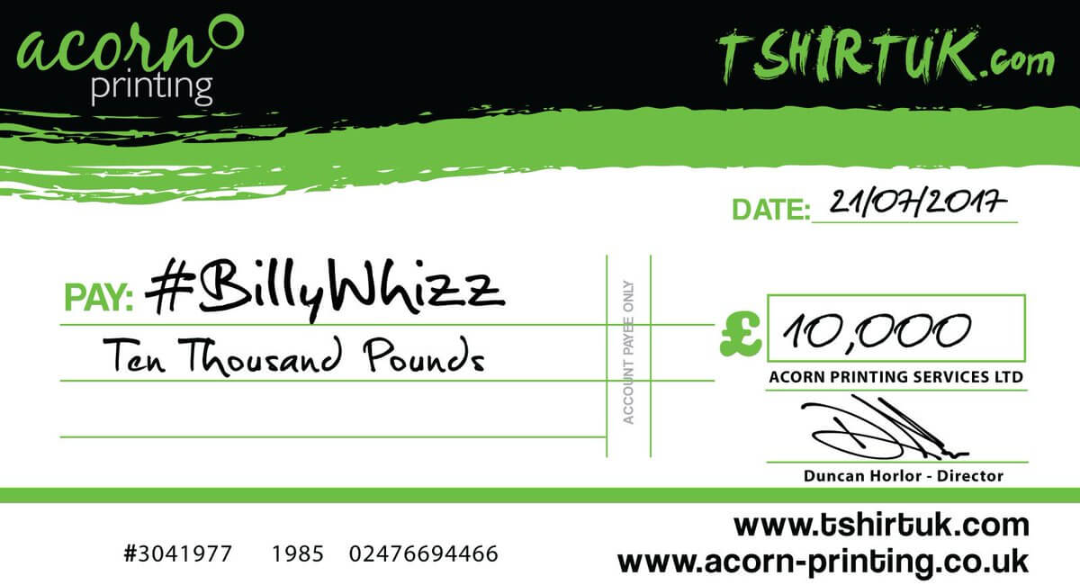 Acorn donation to #BillyWhizz
