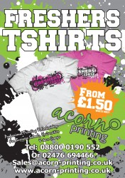 Fair trade T shirts printed and personalised for Freshers Week for universities and colleges
