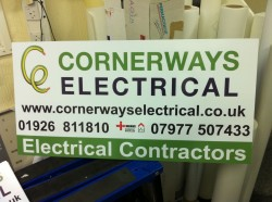 Site signboard by Acorn Printing for Cornerways Electrical