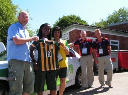 Duncan Horlor seen here with members of the South African women's football team