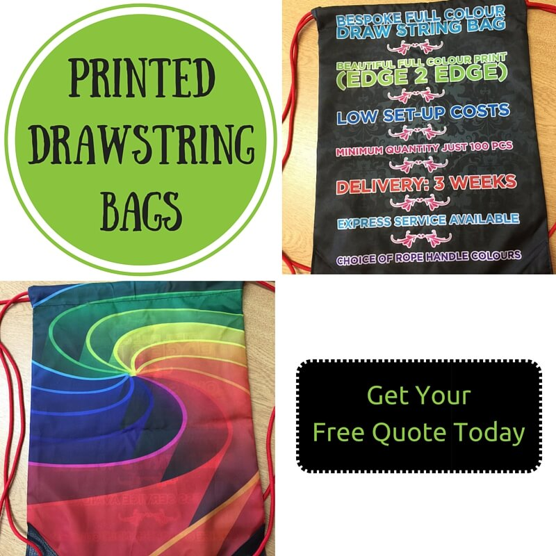printed and personalised drawstring bags